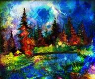 Landschap het schilderen Rivier en diversen en Stock Afbeelding