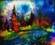 Landschap het schilderen Rivier en diversen en Stock Fotografie
