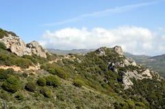 Landschap heuvelig in bergen Stock Foto's
