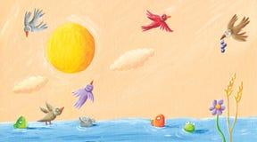 Landschap - kikkers, vogels, en vissen in de vijver vector illustratie