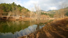 Landschap met bergenrivier in zonnige de winterdag stock footage