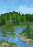 Landschap met bomen en meer Royalty-vrije Stock Foto