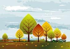 Landschap met bomen, vector stock illustratie
