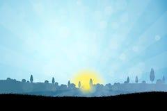 Landschap met Boomsilhouetten royalty-vrije illustratie