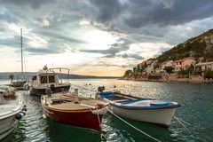 Landschap met boten en overzees Stock Fotografie