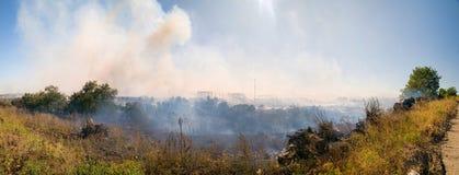 Landschap met brand Stock Fotografie
