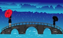 Landschap met brug - Vectorlandschap met brug en - Beelden vectorielles royalty-vrije illustratie
