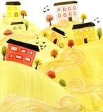 Landschap met colouful huizen en heuvels Royalty-vrije Stock Foto's