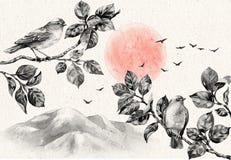Landschap met Dawn en Vogels op Takken royalty-vrije illustratie