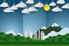 Landschap met de bouw en aard in panoramamening, Ecologie en milieuconcept vector illustratie
