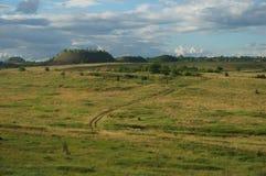 Landschap met de hopen van het mijnafval Royalty-vrije Stock Fotografie
