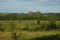 Landschap met de hopen van het mijnafval Stock Fotografie