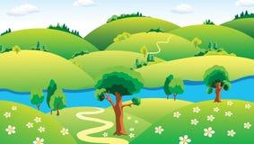 Landschap met de rivier. Stock Afbeeldingen