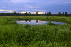 Landschap met een klein meer, effect Stock Afbeeldingen