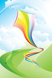 Landschap met een multi-coloured vlieger Royalty-vrije Stock Afbeelding