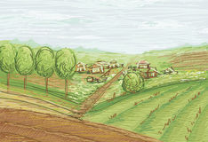 Landschap met gebieden en dorp Stock Foto