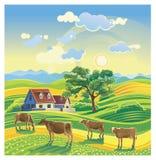 Landschap met goudvinken royalty-vrije illustratie