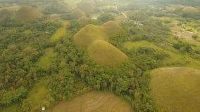 Landschap met groene heuvels Bohol, Filippijnen stock videobeelden