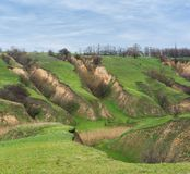 Landschap met gronderosie Stock Afbeelding