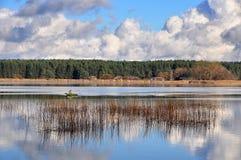 Landschap met grote donkere wolken stock foto's