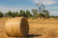 Landschap met Hay Bales, Mallorca, Spanje Stock Fotografie