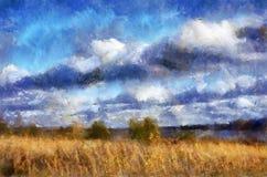 Landschap met hemel en gras Stock Afbeelding
