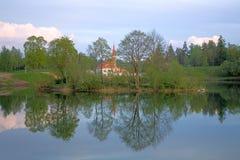 Landschap met het Paleis van de Priorij stock afbeelding