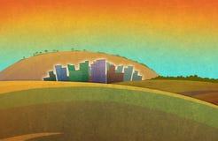 Landschap met het silhouet van stadshuizen in de afstand royalty-vrije illustratie