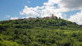 Landschap met Heuvel, Forest And Old Town Architecture Stock Afbeeldingen
