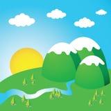 Landschap met heuvels en het toenemen zon Royalty-vrije Stock Afbeelding