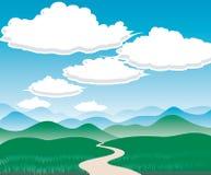 Landschap met Heuvels en wolken vector illustratie