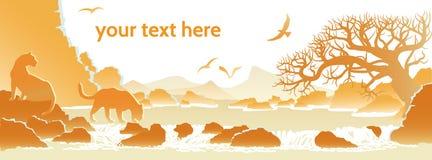 Landschap met hoge klippen en de vliegende vogel Stock Afbeelding