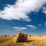 Landschap met hooibergen en blauwe hemel Stock Foto's