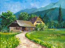 Landschap met huis Royalty-vrije Stock Afbeeldingen