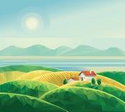 Landschap met hut vector illustratie