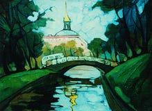 Landschap met kanaal in heilige Petersburg stock illustratie