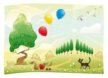 Landschap met kat. vector illustratie