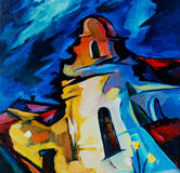 landschap met katholiek klooster, waterkleur Stock Afbeelding