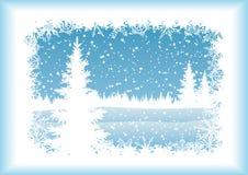 Landschap met Kerstboom, silhouetten Royalty-vrije Stock Afbeelding