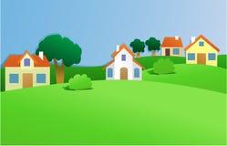 Landschap met klein dorp stock illustratie