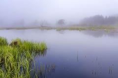 Landschap met meer in de ochtend als landschap aard van het achtergrondschoonheidsbehang Royalty-vrije Stock Afbeeldingen