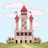Landschap met prinsessenkasteel en hemel met wolken in kleurrijk silhouet royalty-vrije illustratie