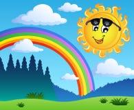 Landschap met regenboog en Zon 1 Stock Foto's