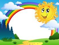 Landschap met regenboog en Zon 2 Royalty-vrije Stock Afbeelding