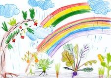Landschap met regenboog. kind tekening. Royalty-vrije Stock Foto