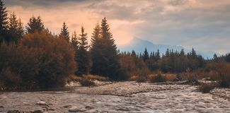 Landschap met rivier en berg stock afbeeldingen