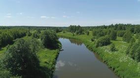 Landschap met rivier en bomen stock videobeelden