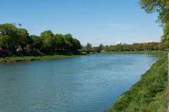 Landschap met rivier en bomen stock foto