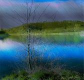 Landschap met riviereiland en eenzame boom in een onweer Stock Fotografie