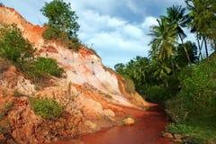 Landschap met rode rivier tussen rotsen en wildernis. Vietnam stock afbeeldingen